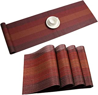 Pauwer Placemats with Table Runner Set Heat Resistant Washable Woven Vinyl Placemats Set of 6 and Runner for Dining Table Wipe Clean