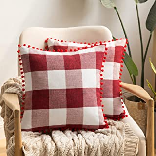 Best MIULEE Set of 2 Retro Farmhouse Buffalo Plaid Check Pillow Cases with Pom-poms Decorative Throw Pillow Covers Cushion Case for Christmas Sofa Couch 18x18 Inch Red and White Review