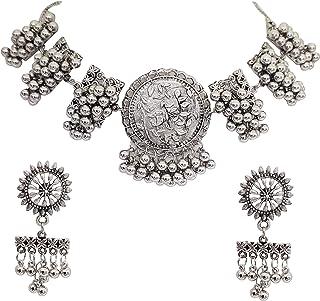Total Fashion Women's Oxidised Silver Brass Afghani Necklace Choker Jewellery Set (Silver)