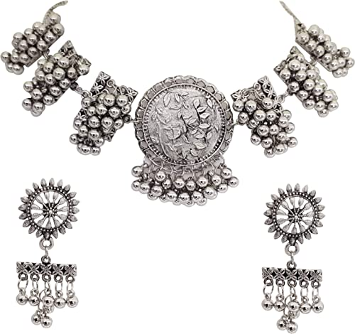 Oxidised Silver Afghani Necklace Choker Jewellery Set for Girls Women
