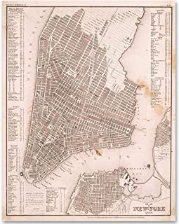 New York City Map Art From 1844-11x14 Unframed Patent Print - Makes a Great Gift Under $15 for Home Decor