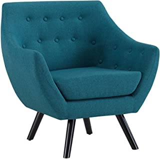 Modway Allegory Mid-Century Modern Upholstered Fabric Accent Arm Chair in Teal