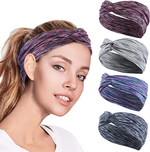 4PCS Women Workout Headband Lightweight Soft Wicking Stretchy Head Wrap Ideal for Sports/Yoga/Pilates/Dancing/Running...