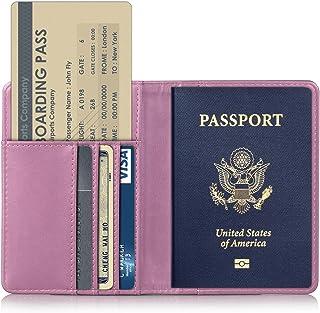 Girl Cat Park Spring Blue Cherry Leather Passport Holder Cover Case Travel One Pocket