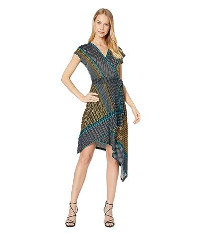 BCBGMAXAZRIA Printed Matte Jersey Asymmetrical Hem Dress (Border Weave/Golden Citron) Women