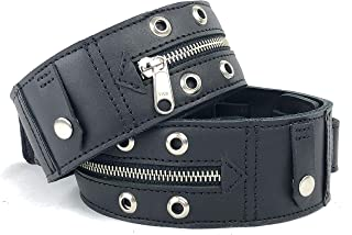 Punk Rock Black Leather Guitar Strap with Metal Zipper 2