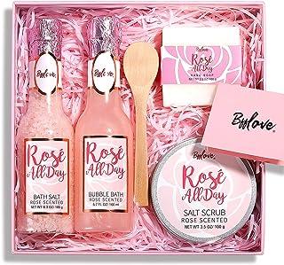 Coffret Cadeau Spa pour Femmes Coffret Bain Femme 5Pcs Rose Soin de Beauté avec Sel de Bain, bain moussant,Gommage au Sel,...