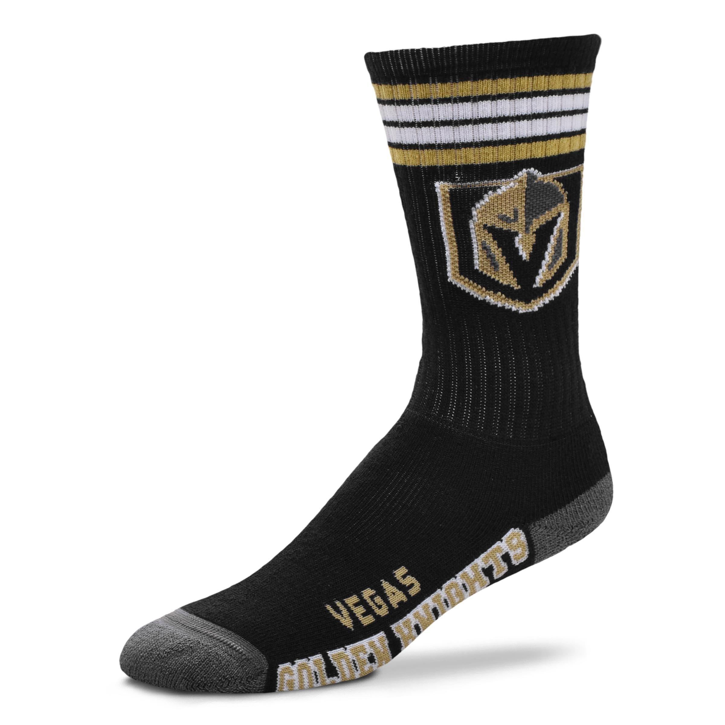 For Bare Feet NHL 4 Stripe Deuce Crew Men Socks 10-13 Las Vegas Golden Knights, Large