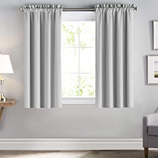 downluxe Blackout Curtains 63 Length, Rod Pocket Window Drapes and Curtains for Living Room, Greyish White, 42x63, 2 Panels