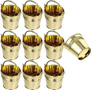Cabilock Lot de 10 mini seaux à snack dorés avec poignées en plastique pour anniversaire, mariage, cadeau (doré)