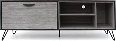 Christopher Knight Home Dorrin Mid-Century Modern Faux Wood TV Stand, Sonoma Grey Oak / Grey Oak / Black