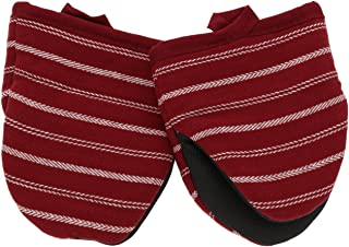 Cuisinart Neoprene Mini Oven Mitts, 2pk -Heat Resistant Oven Gloves Protect Hands and Surfaces with Non-Slip Grip and Hanging Loop-Ideal Set for Handling Hot Cookware, Bakeware-Twill Stripe Red Dahlia