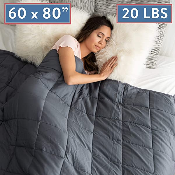 Weighted Blanket 20 LBS Queen Size Anxiety Relief Thick Heavy Weight Calming Blankets Lap Pad Full Size Big Cotton Bed Blanket For Adults And Kids With Glass Beads Large Grey 60 X80 INCH