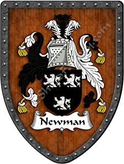 Newman Family Crest Custom Coat of Arms, Family Ancestry and Heritage Hanging Metal Wall Plaque Shield - Hand Made in the USA