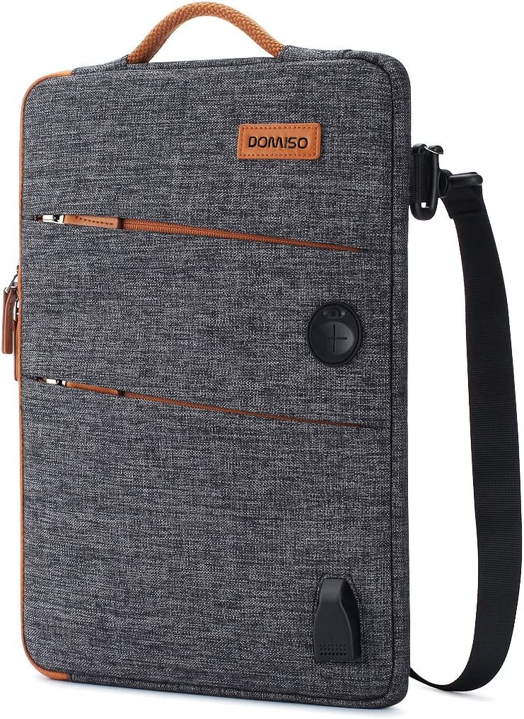 DOMISO 13.3 Inch Waterproof Laptop Sleeve Canvas with USB Charging Port Headphone Hole for 13-13.3 Inch Laptops / MacBook Pro Retina / Dell Inspiron 13 XPS 13 / Acer / Lenovo / HP , Dark Grey
