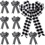 trounistro 8 Pack 10 Inch Christmas Ribbon Bows Christmas Buffalo Plaid Bows Ribbon Bows for Christmas Tree Home Decor