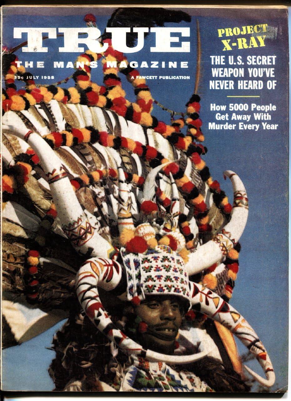 TRUE MAGAZINE-July 1958-PETER Ranking TOP11 Free Shipping Cheap Bargain Gift HELCK ART-MURDER-CRIME-PULP