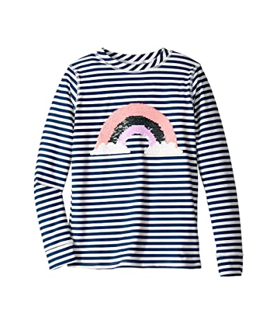 shade critters Sequin Rainbow Raglan Sleeve Rashguard (Little Kids/Big Kids) (Navy) Girl