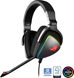 ASUS ROG DELTA USB-C Gaming Headset for PC, Mac, PlayStation 4, Teamspeak, and Discord with Hi-Res ESS Quad-DAC, Digital Microphone, and Aura Sync RGB Lighting