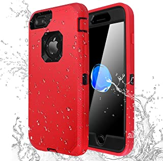 iPhone 7 Plus/8 Plus Shockproof Case,AICase [Heavy Duty] [Full Body] Built-in Screen Protector Water-Resistance Cover for Apple iPhone 8 Plus/7 Plus/6 Plus/6s Plus (Black+Red)