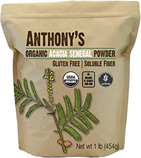 Anthony's Organic Acacia Senegal Powder, 1 lb, Batch Tested Gluten Free, Non GMO, Soluble Fiber, Prebiotic
