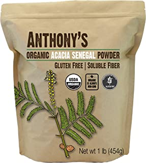 Anthony's Organic Acacia Senegal Powder, 1lb, Batch Tested Gluten Free, Non GMO, Soluble Fiber, Prebiotic