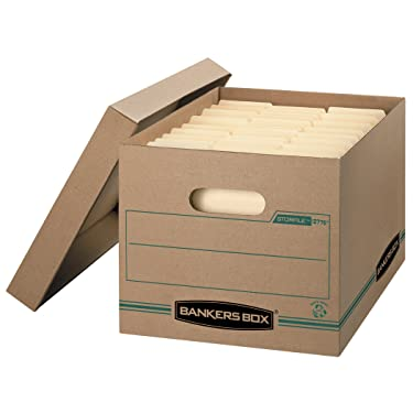 Bankers Box STOR/FILE Storage Boxes, Standard Set-Up, Lift-off Lid, 100% Recycled, Letter/Legal, Case of 12 (1277601)