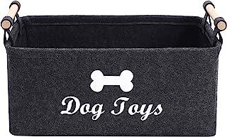 Morezi Felt pet Toy Basket and Dog Toy Box Storage Basket Chest Organizer - Perfect for organizing pet Toys, Blankets, lea...