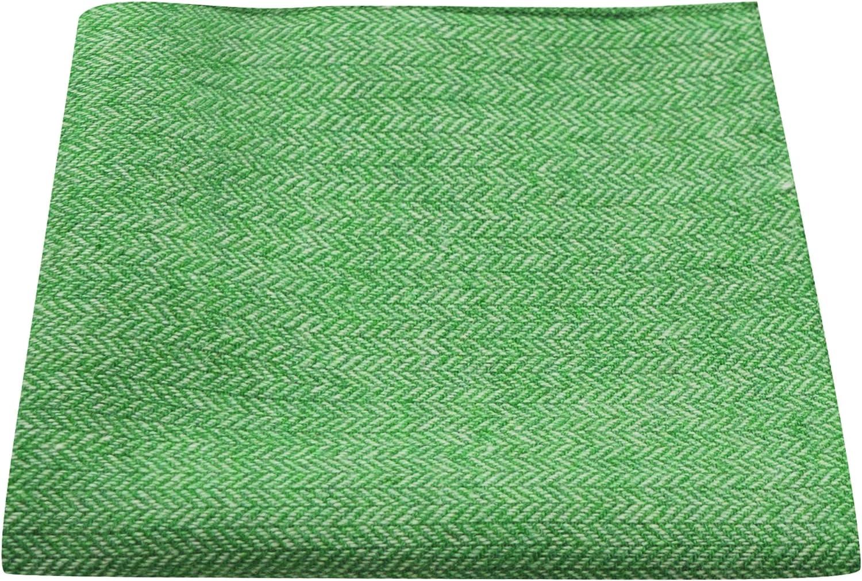 Garden Green Herringbone Pocket Square, Handkerchief
