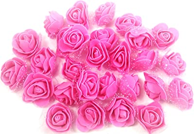 Evisha 60pcs Dark Pink Colour Foam Artificial Flowers for Art and Craft Jwellery Making Gift Decoration