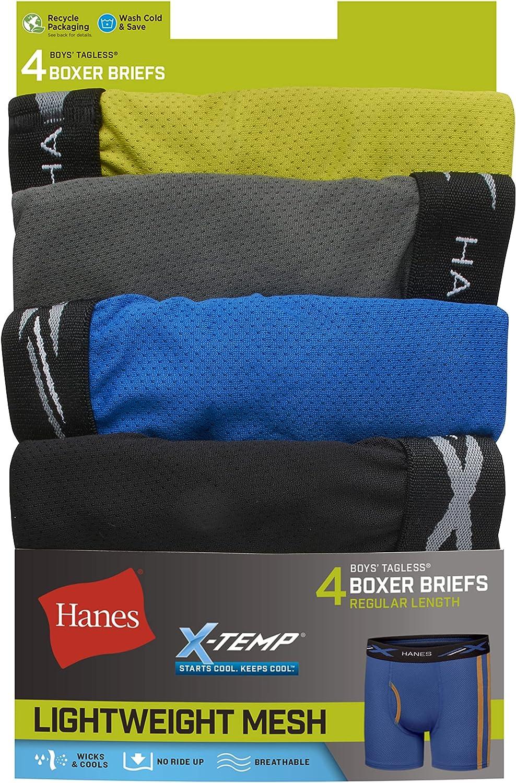 Hanes Boys' X-Temp Breathable Mesh Boxer Brief 4-Pack