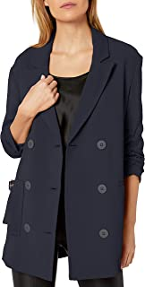 A X Armani Exchange Women's Classic Double Breasted Blazer with Cinched Sleeves