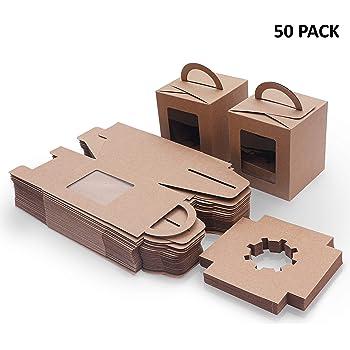 Caja Pasteleria Marrón Kraft (Pack de 50) - Caja Carton Desechable Comida para Llevar con Ventana Transparente (9,39 ...