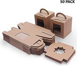 Packung mit 12 St/ück Braune Kraft Tasche S/ü/ßigkeiten Kekse Box Mit Klarem Fenster Emartbuy Starkes Papier Aufstehen Geschenktasche 15 cm x 10 cm x 6 cm