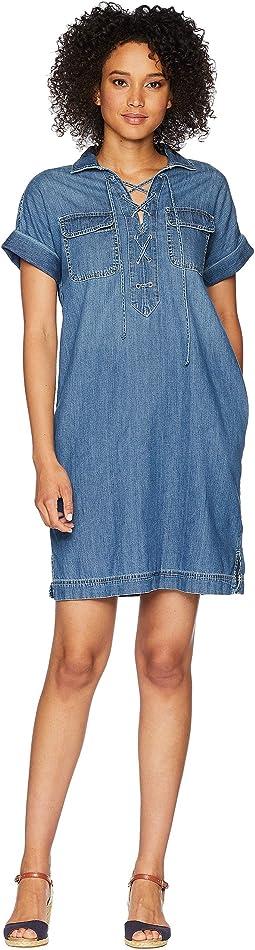 Lace-Up Denim Shirtdress