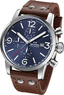 TW Steel Maverick Stainless Steel Quartz Watch with Leather Calfskin Strap, Brown, 24 (Model: MS104)