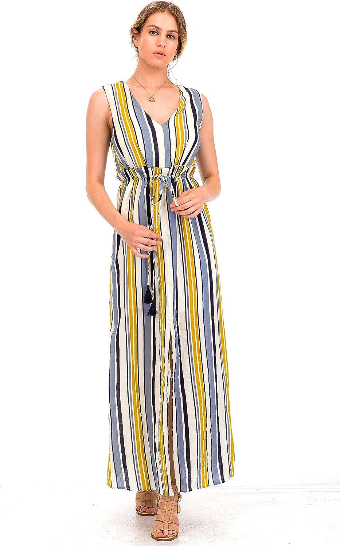 Malibu Days Women's Vintage Stripe Tie Waist Sleeveless Resort Cocktail Party Maxi Long Dress