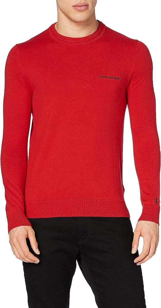 Calvin klein,  maglione uomo ,in cotone elasticizzato e poliammide J30J315616