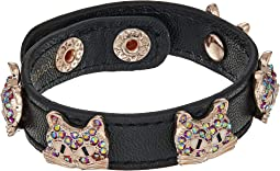 Multi Stone Cat Leather Snap Bracelet