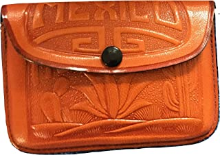 Small Mexican Leather Clutch Purse 4 in x 3 in