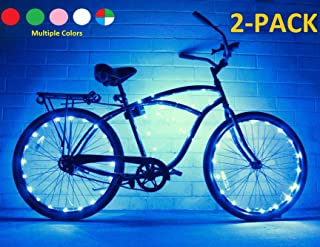 GlowRiders (2 Pack) Ultra Bright LED - Bike Wheel Light String - Assorted Colors Bicycle Tire Accessories- Burning Man Accessory