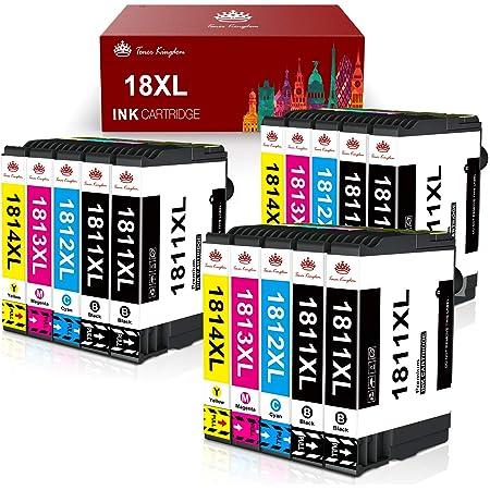 Toner Kingdom 18XL Cartucce d'inchiostro Sostituzione per Epson 18 18 XL Compatibile con Epson Expression Home XP-205 XP-212 XP-215 XP-225 XP-302 XP-305 XP-402 XP-405 XP-412 XP-422 (Confezione da 15)