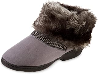 isotoner Women's Recycled Microsuede Mallory Boot Slipper, with Memory Foam, Ash, 8.5-9