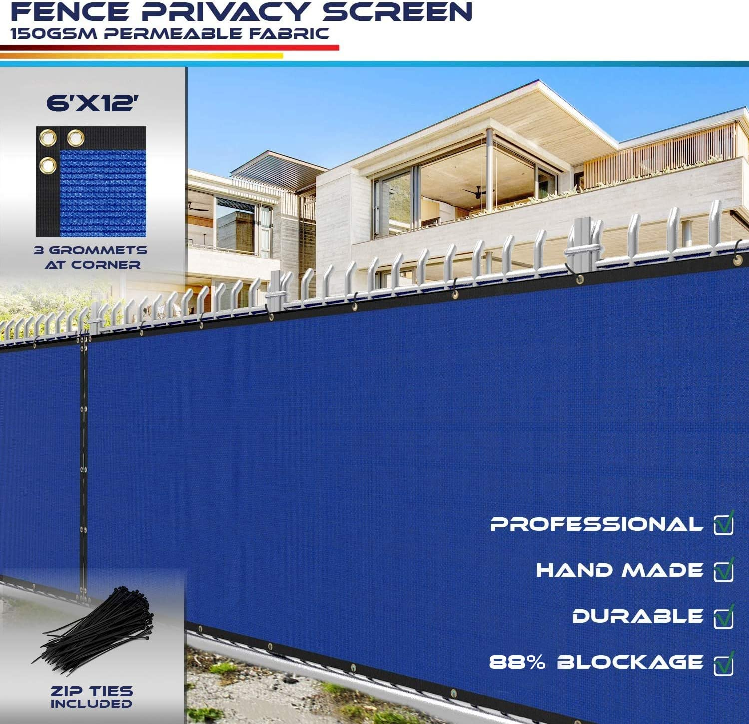6' x 12' Privacy Fence Screen Blue with Chain Tucson Mall for in Outlet ☆ Free Shipping Link