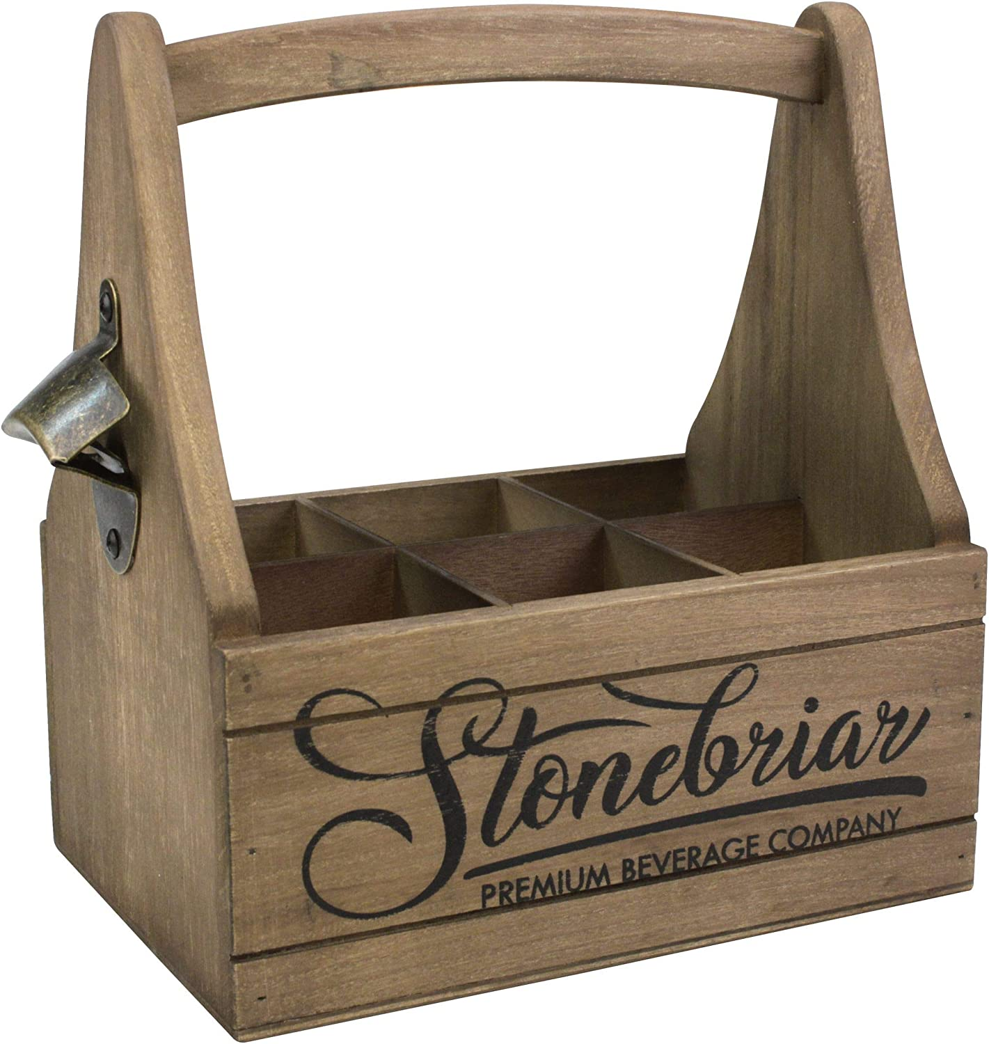 Stonebriar Premium Beverage Albuquerque Mall Wooden Beer Caddy and Me with Handle Fashion