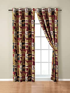 Rugs 4 Less Rustic Cabin Lodge Window Treatment Grommet Curtain Set with Patchwork of Wildlife Moose Grizzly Bears Deer Buck Antlers and Southwest Tribal Patterns - Western 3 (Curtain Set)