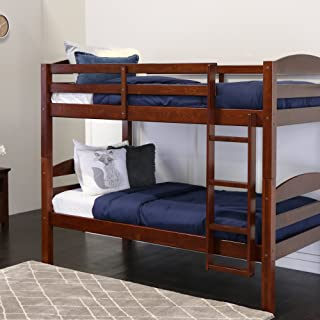 WE Furniture Classic Wood Twin Bunk Kids Bed Bedroom, Espresso Brown