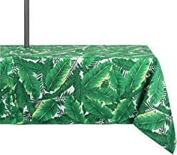 DII Spring & Summer Outdoor Tablecloth, Spill Proof and Waterproof with Zipper and Umbrella Hole, Host Backyard Parties, BBQs, Family Gatherings - (60x120 - Seats 10 to 12) Banana Leaf
