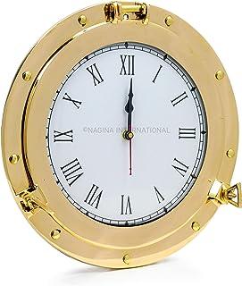 Premium Nautical Brass Porthole Clock | Pirate Ship's Elegant Metal Roman Dial Face Wall Clock | Home Decorative Gifts | N...