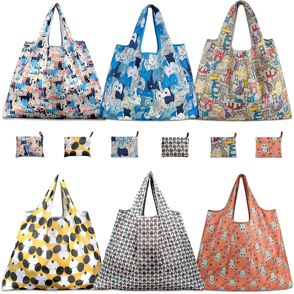 Reusable Grocery Bags, TEOYALL 6 Pack Eco Friendly Large Foldable Grocery Tote Bag Heavy Duty Washable Shopping Bags (6 Pack)